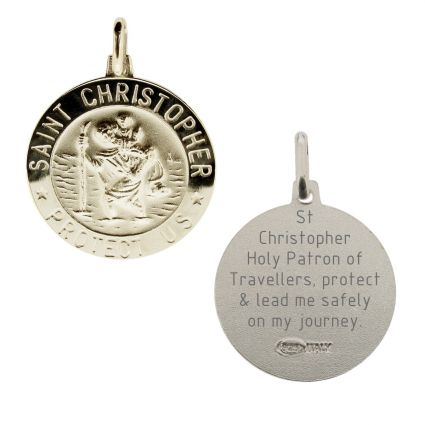 Sterling Silver 18mm 3D St Christopher Pendant With Travellers Prayer