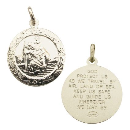 Sterling Silver Patterned St Christopher Pendant With Travellers Prayer