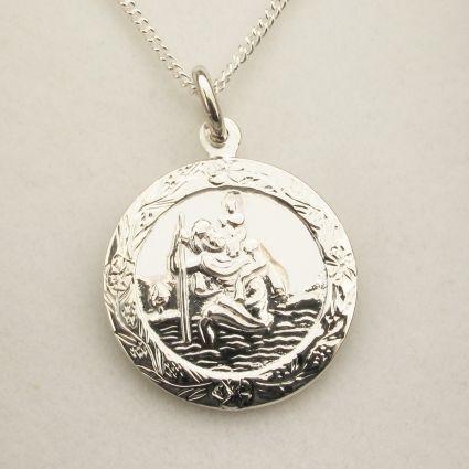 Sterling Silver Patterned St Christopher Pendant