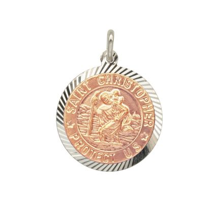 Sterling Silver and Rose Gold Plated 18mm Diamond Cut St Christopher Pendant