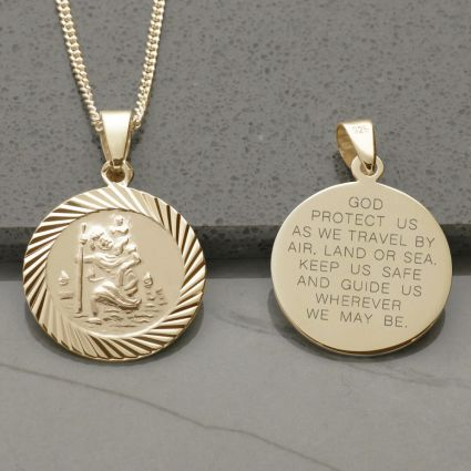 9ct Yellow Gold Plated 20mm Diamond Cut St Christopher Pendant With Travellers Prayer and Optional Chain