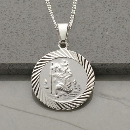 Sterling Silver 20mm Diamond Cut St Christopher Pendant With Optional Personalisation and Chain
