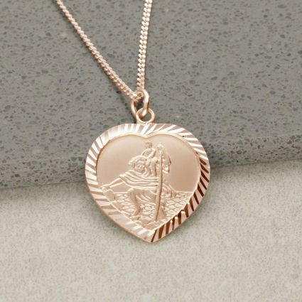 9ct Rose Gold Plated Diamond Cut Heart St Christopher Pendant With Optional Engraving and Chain