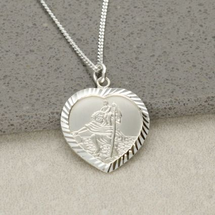 Sterling Silver Diamond Cut Heart St Christopher Pendant With Optional Engraving and Chain