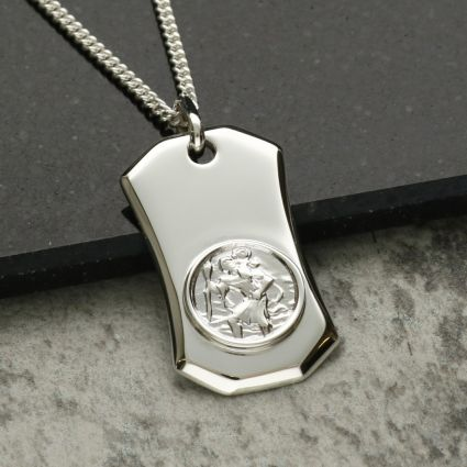 Sterling Silver St Christopher Ingot With Optional Engraving and Chain