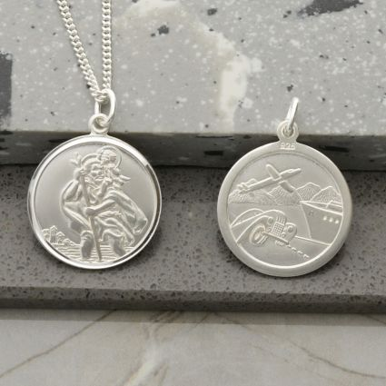 Sterling Silver Round Reversible St Christopher Pendant With Optional Chain