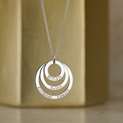 9ct White Gold Triple Disc Personalised Family Necklace