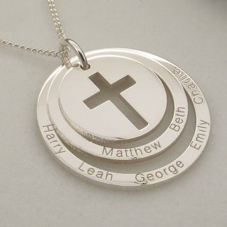 Sterling Silver Personalised Two Disc Cut Out Cross Pendant