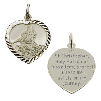 Sterling Silver Diamond Cut Heart St Christopher Pendant With Travellers Prayer