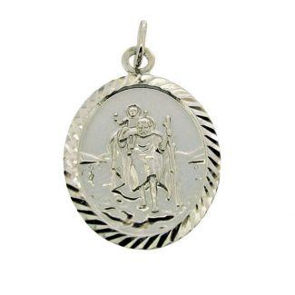Sterling Silver Diamond Cut Large Oval St Christopher Pendant