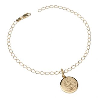9ct Yellow Gold Curb Bracelet With 14mm St Christopher & Optional Engraving