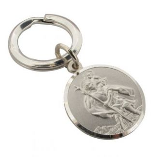 Sterling Silver 27mm St Christopher Keyring and Optional Engraving