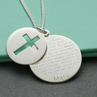 Sterling Silver Personalised Cross Disc With The Lord's Prayer & Optional Engraving