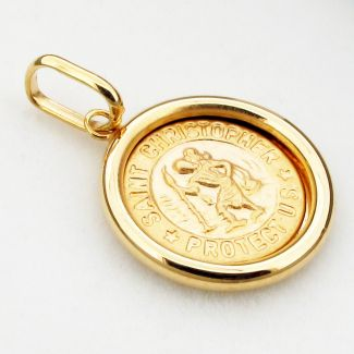 9ct Yellow Gold 16mm Donut St Christopher Pendant