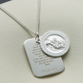 Sterling Silver Personalised St Anthony With Concealed St Anthony Prayer and Optional Engraving