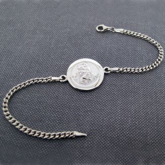 Sterling Silver Mens St Christopher Bracelet With Optional Engraving