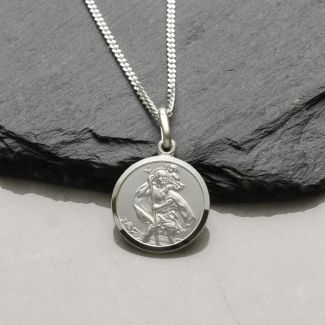 Sterling Silver 14mm St Christopher Pendant With Optional Engraving and Chain