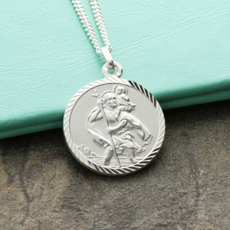 9ct White Gold Diamond Cut 18mm St Christopher Pendant