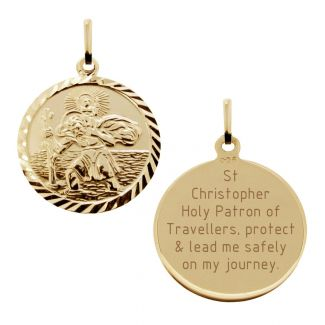 9ct Yellow Gold Plated Diamond Cut 19mm St Christopher Pendant With With Travellers Prayer