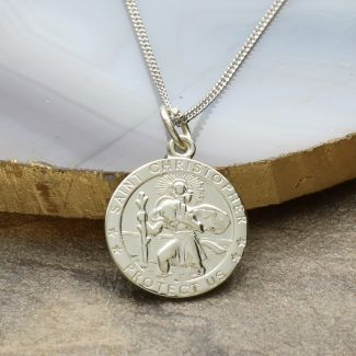 9ct White Gold 16mm 3D St Christopher Pendant With Optional Engraving and Chain