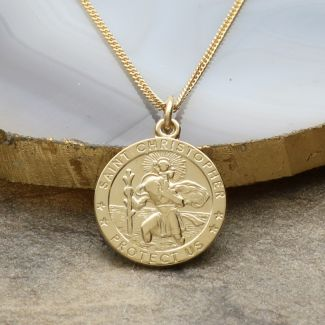 9ct Yellow Gold 16mm 3D St Christopher Pendant With Optional Engraving and Chain