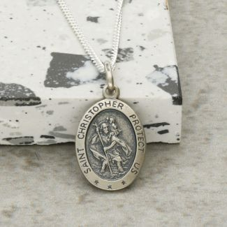 Antique Finish Sterling Silver Small Satin Oval St Christopher Pendant With Optional Engraving and Chain