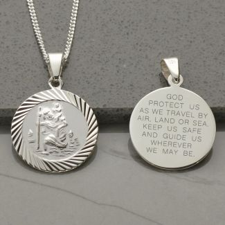 Sterling Silver 20mm Diamond Cut St Christopher Pendant With Travellers Prayer and Optional Chain