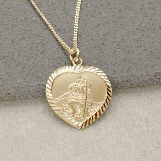 9ct Yellow Gold Plated Diamond Cut Heart St Christopher Pendant