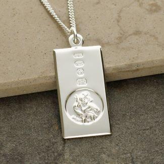 Sterling Silver Custom Hallmarked St Christopher Ingot