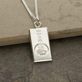 Sterling Silver Custom Hallmarked Small St Christopher Ingot