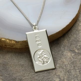 9ct White Gold Custom Hallmarked Large St Christopher Ingot with Optional Engraving and Chain