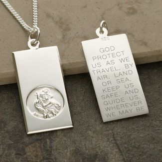 Sterling Silver Large St Christopher Ingot With Travellers Prayer & Optional Engraving