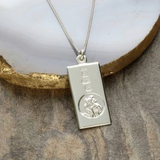 9ct White Gold Custom Hallmarked St Christopher Ingot