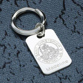 Sterling Silver Engraved St Christopher Keyring