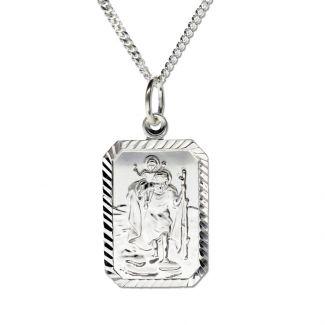 Sterling Silver Diamond Cut Rectangle St Christopher Pendant