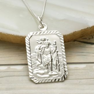 Sterling Silver Diamond Cut Large Rectangle St Christopher Pendant With Optional Engraving