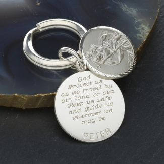 Sterling Silver Personalised Round St Christopher Keyring With Travellers Prayer