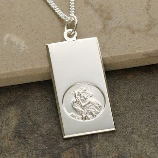 Sterling Silver Large St Christopher Ingot