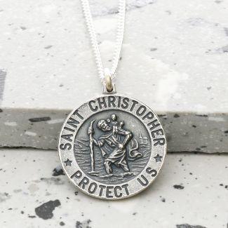 Antique Finish Sterling Silver 21mm 3D St Christopher Pendant