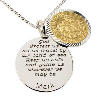 Yellow Gold Plated & Sterling Silver Personalised Round St Christopher With Travellers Prayer