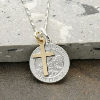 Sterling Silver St Michael Medal With 9ct Yellow Gold Cross, Optional Engraving and Chain