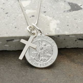 Sterling Silver St Michael Medal With Cross, Optional Engraving and Chain