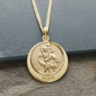 9ct Yellow Gold Plated Personalised Round St Christopher With Travellers Prayer