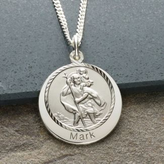 9ct White Gold Personalised St Christopher With Concealed With Travellers Prayer