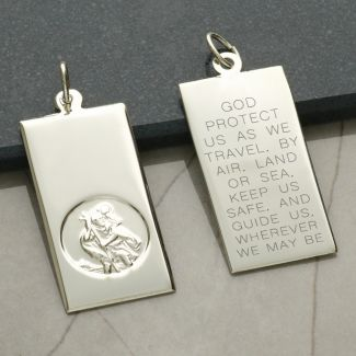 9ct White Gold Large St Christopher Ingot With Travellers Prayer Optional Engraving and Chain