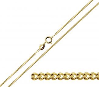 9ct Yellow Gold 1.3mm Diamond Cut Curb Chain