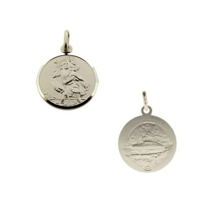 Sterling Silver 12mm Double Sided St Christopher Pendant