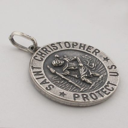 Antique Finish Sterling Silver 15mm 3D St Christopher Pendant