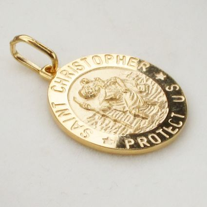 9ct Yellow Gold 18mm 3D St Christopher Pendant