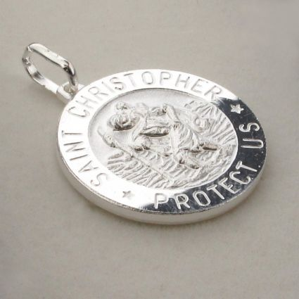 Sterling Silver 12mm 3D St Christopher Pendant